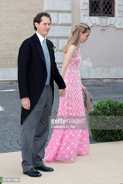 John Elkann and wife Lavinia Borromeo attend the wedding of Prince Amedeo of Belgium and Elisabetta Maria Rosboch Von Wolkenstein at Basilica Santa...
