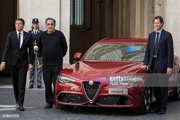 John Elkann Chairman of Fiat Chrysler Automobiles Italian Prime Minister Matteo Renzi and Sergio Marchionne CEO of Fiat Chrysler Automobiles attend a...