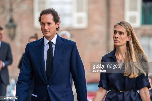 John Elkann chairman of Fiat Chrysler Automobiles NV left and his wife Lavinia Borromeo arrive for a memorial service for former Fiat Chrysler...