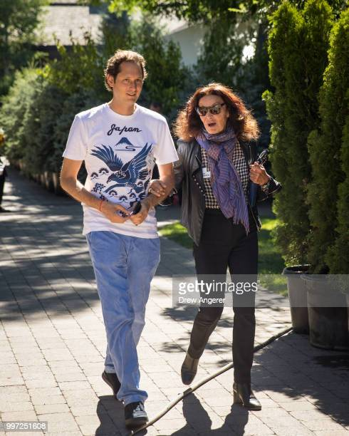 John Elkann chairman of Fiat Chrysler Automobiles walks with fashion designer Diane von Furstenberg at the annual Allen Company Sun Valley Conference...
