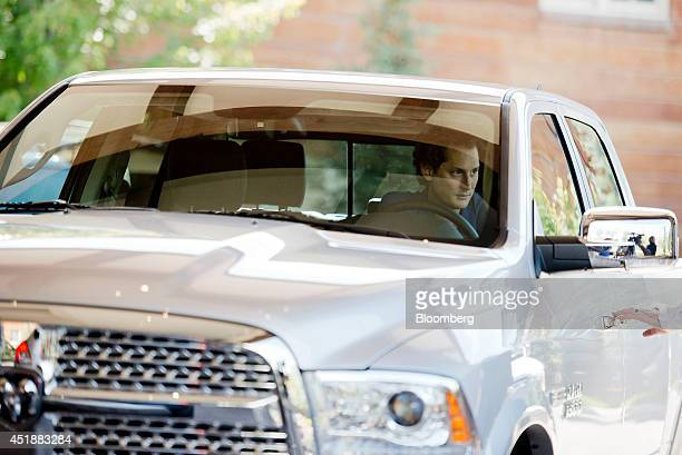 John Elkann chairman of Fiat SpA arrives in a vehicle at the Sun Valley Lodge ahead of the Allen Co Media and Technology Conference in Sun Valley...