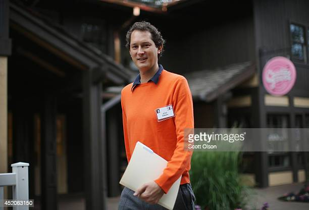John Elkann chairman of Fiat SpA attends the annual Allen and Company Sun Valley Conference at the Sun Valley Resort on July 12 2014 in Sun Valley...