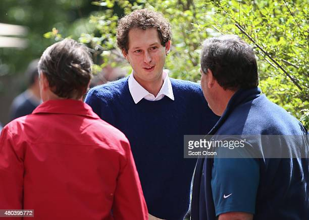 John Elkann chairman of Fiat SpA chats with New Jersey Governor Chris Christie RL at the Allen Company Sun Valley Conference on July 11 2015 in Sun...