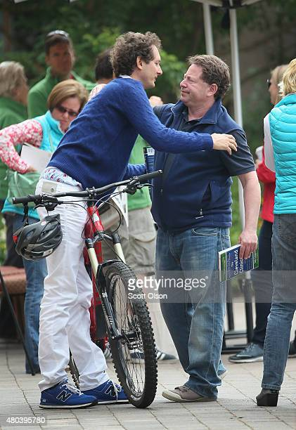 John Elkann chairman of Fiat SpA greets Bobby Kotick chief executive officer of Activision Blizzard Inc at the Allen Company Sun Valley Conference on...