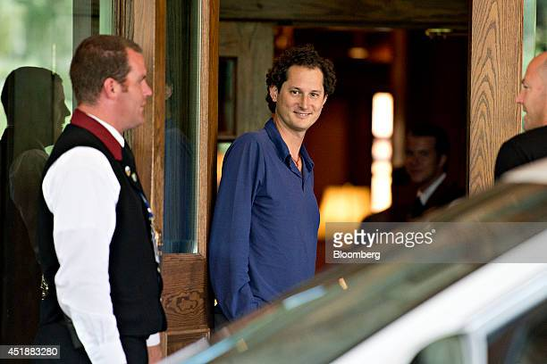 John Elkann chairman of Fiat SpA walks outside the Sun Valley Lodge ahead of the Allen Co Media and Technology Conference in Sun Valley Idaho US on...