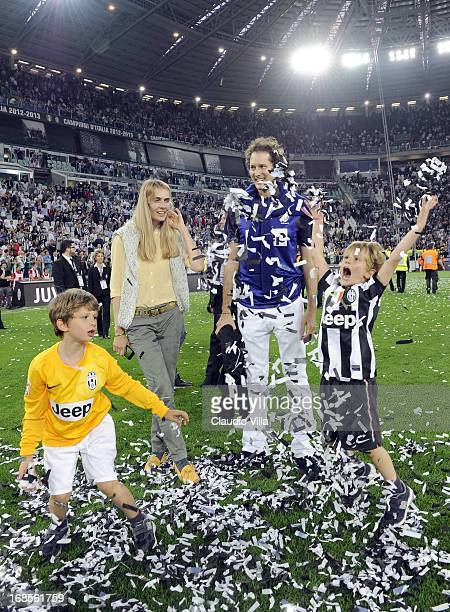 John Elkann Lavinia Borromeo and with their children celebrate after the Serie A match between Juventus and Cagliari Calcio at Juventus Arena on May...