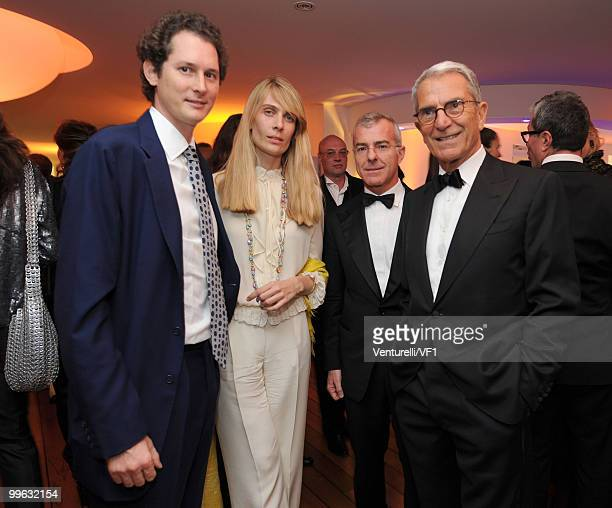 CANNES FRANCE MAY 15 John Elkann Lavinia Borromeo Giampaolo Letta and Carlo Rossella attend the Vanity Fair and Gucci Party Honoring Martin Scorsese...