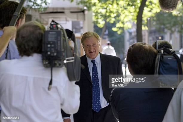 John Elliott arrives for meeting at Bentley MRI office in Melbourne 28th January 2005 THE AGE BUSINESS Picture by ANDREW DE LA RUE