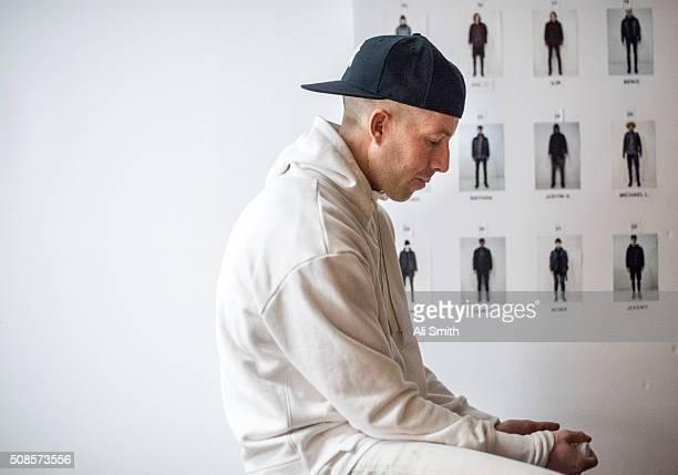 John Elliott backstage at the John Elliott + CO fashion show during New York Fashion Week Men's Fall/Winter 2016 at Skylight at Clarkson Sq on...