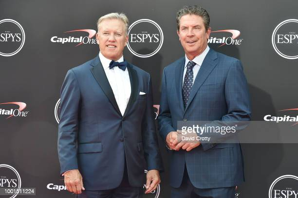 John Elway and Dan Marino attend The 2018 ESPYS at Microsoft Theater on July 18, 2018 in Los Angeles, California.