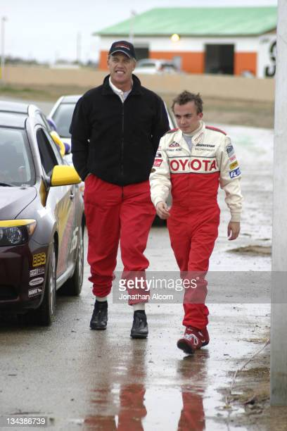 John Elway and Frankie Muniz during Toyota Pro/Celebrity Race Training Day March 11 2006 at Willow Springs Raceway in Rosamond California United...