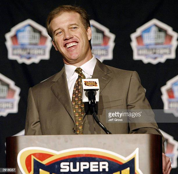 John Elway is selected into the Pro Football Hall Of Fame during a press conference on January 31 2004 at the George R Brown Convention Center in...