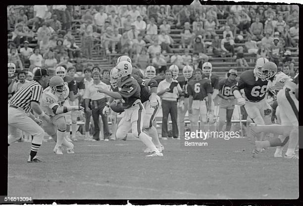 John Elway of Stanford, , plays here in a game against San Jose State at Stanford Stadium. San Jose won.