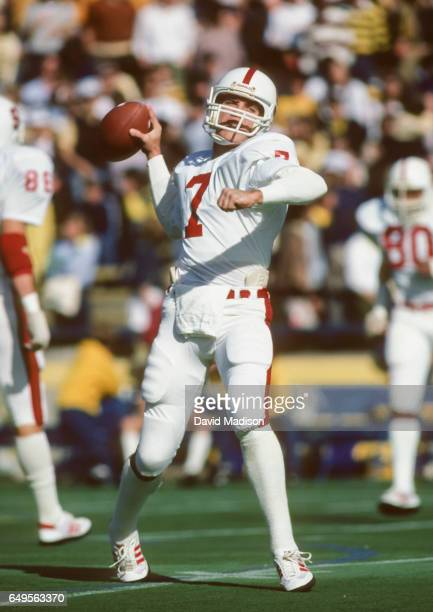 John Elway of the Stanford Cardinal warms up before the Big Game against the California Golden Bears played on November 20, 1982 at Memorial Stadium...