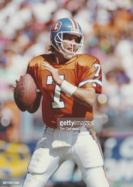John Elway, Quarterback for the Denver Broncos during the American Football Conference West game against the Cincinnati Bengals on 1 December 1991 at...