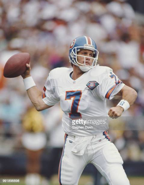 John Elway, Quarterback for the Denver Broncos during the American Football Conference West game against the San Diego Chargers on 23 October 1994 at...