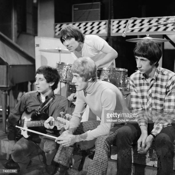 John Entwhistie Keith Moon Roger Daltrey and Pete Townshend of the rock and roll band The Who on the set of Ready Steady Go TV show in 1965 in London...