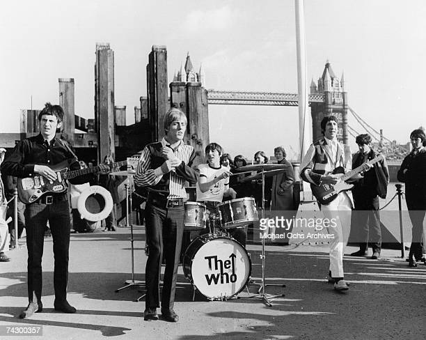 """John Entwhistle, Roger Daltrey, Keith Moon and Pete Townshend perform on Dick Clark's """"Where the Action Is"""" TV show on The Tower Bridge on March 18,..."""