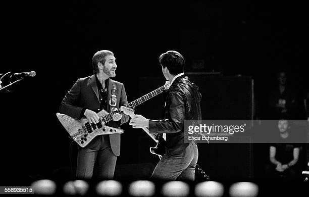 John Entwistle and Pete Townshend of The Who perform on stage, NEC, Birmingham, United Kingdom, 1982.