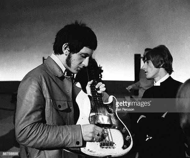 John Entwistle and Roger Daltrey of The Who on the set of Danish TV show 'Klar I Studiet' on October 20th 1966 in Copenhagen Denmark