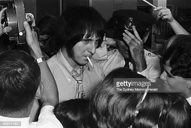 John Entwistle from English rock band The Who is greeted by fans and media at Sydney's International Airport as the band arrived for their Australian...
