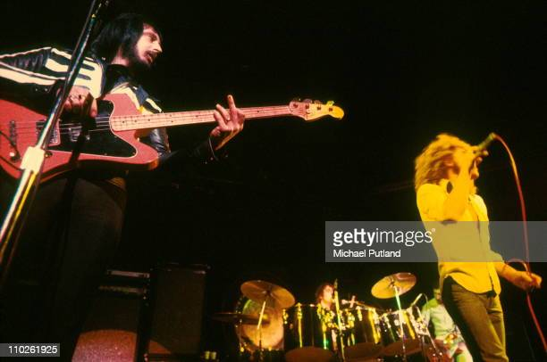 John Entwistle Keith Moon and Roger Daltrey of The Who perform on stage London November 1973