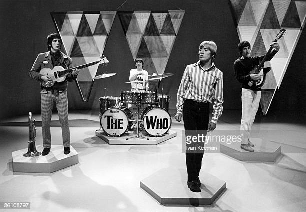 LR John Entwistle Keith Moon Roger Daltrey Pete Townshend of The Who performing on A The Whole Scene Going BBC TV Centre London 1966