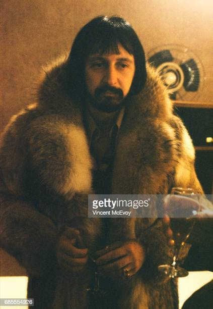 John Entwistle of The Who in a fur coat at a Polydor records press call Stratford Place London February 1976