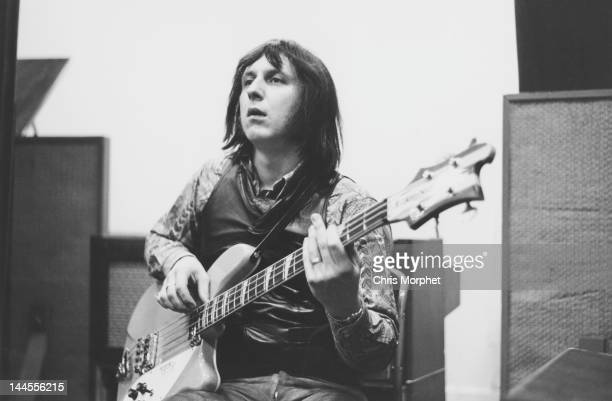 John Entwistle of The Who playing a Rickenbacker bass guitar during the recording of 'The Seeker' at IBC studios London 19th January 1970
