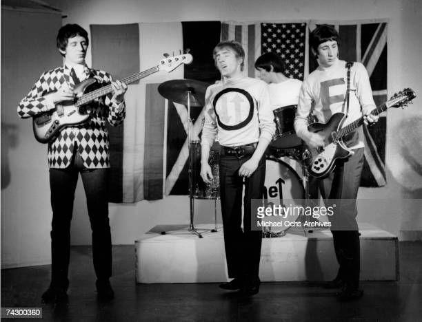 John Entwistle Roger Daltrey Keith Moon and Pete Townshend of the rock and roll band 'The Who' perform onstage for a TV show in 1965 in London England