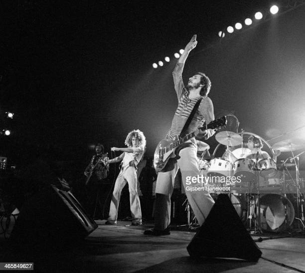 John Entwistle, Roger Daltrey, Pete Townshend and Keith Moon of The Who perform live on stage at Ahoy in Rotterdam, Netherlands on October 27 1975.