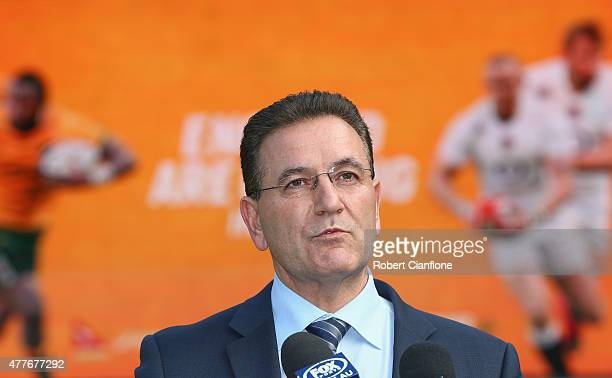 John Eren Minister for Tourism and Major Events speaks to the media during an ARU press conference at AAMI Park on June 19 2015 in Melbourne Australia