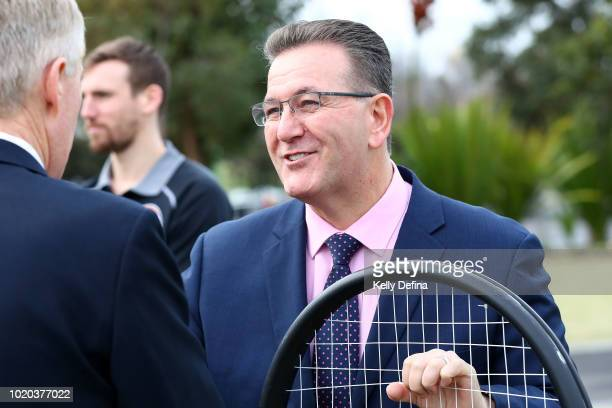 John Eren MP Minister for Sport Tourism and Major Events is seen during the Melbourne Arena naming announcement at Melbourne Park on August 21 2018...