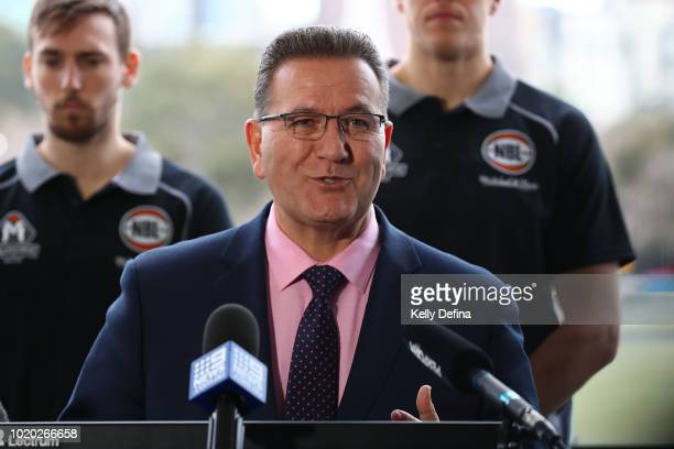 John Eren MP Minister for Sport Tourism and Major Events speaks to media during the Melbourne Arena naming announcement at Melbourne Park on August...
