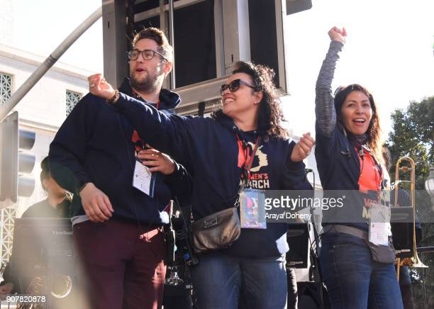 John Erickson Elen Crafts and Emiliana Guereca at 2018 Women's March Los Angeles at Pershing Square on January 20 2018 in Los Angeles California
