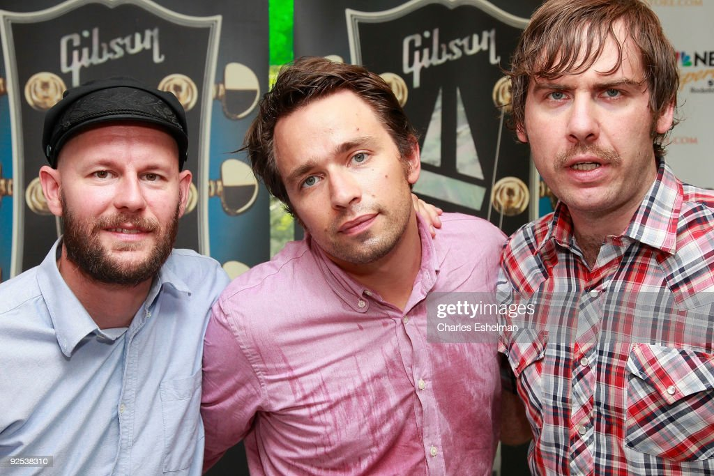 John Eriksson, Peter Moren and Bjorn Yttling of the Swedish rock band Peter, Bjorn and John appear at the Gibson Sessions at the NBC Experience Store on August 4, 2009 in New York City.