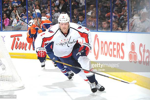 John Erskine of the Washington Capitals skates on the ice in a game against the Edmonton Oilers on October 24 2013 at Rexall Place in Edmonton...
