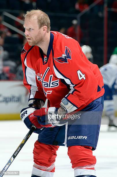 John Erskine of the Washington Capitals warms up before the game against the Toronto Maple Leafs at the Verizon Center on April 16 2013 in Washington...