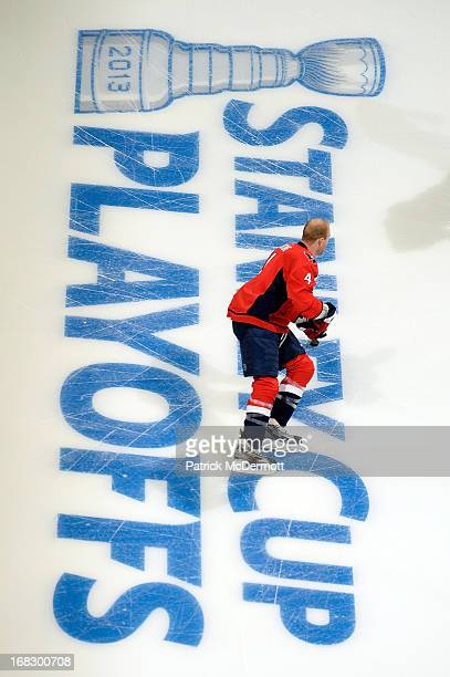 John Erskine of the Washington Capitals warms up before the start of Game One of the Eastern Conference Quarterfinals against the New York Rangers...