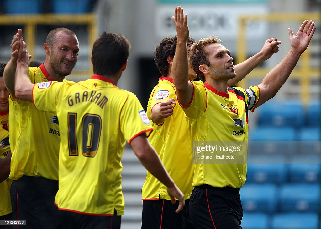 John Eustace celebrates scoring the first goal for Watford during the npower Championship match between Millwall and Watford at The Den on September 18, 2010 in London, England.