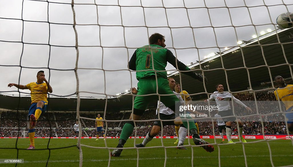 John Eustace of Derby County scores a goal during the Sky Bet Championship match between Derby County and Wigan Athletic at the iPro Stadium on October 25, 2014 in Derby, England.