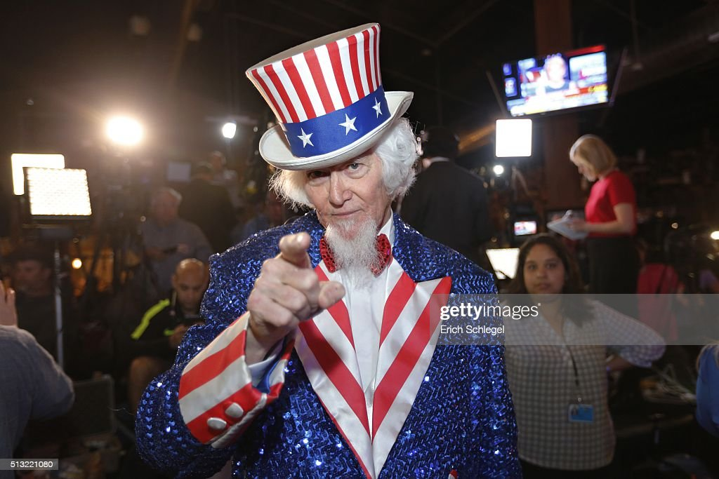 John Evans dressed as Uncle Sam of Kingwood, Texas, a supporter of Republican presidential candidate, Sen. Ted Cruz (R-TX), attends a Super Tuesday watch party at the Redneck Country Club March 1, 2016 in Stafford, Texas. Cruz won the primary in Texas, his home state.