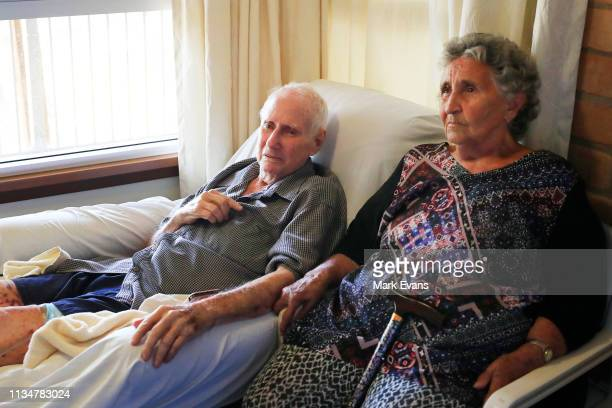 John Evans talks about the Darling-Barka river from his hospital bed as wife Shirley looks on, on March 06, 2019 in Wilcannia, Australia. The...