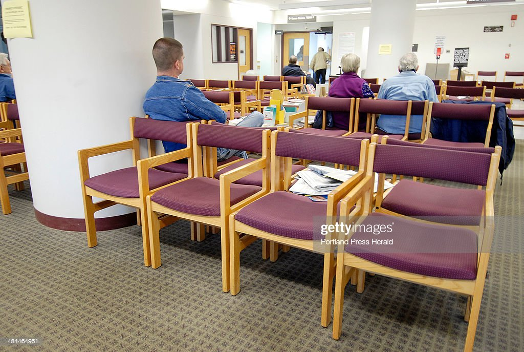 Patients wait in the waiting room at the State of Maine Veterans Administration Hospital at Togus. : News Photo