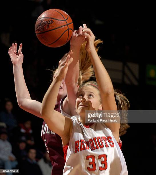 John Ewing/Staff Photographer Friday February 22 2008 South Portland vs Noble girls class A semifinal game South Portland's Abby Hasson battles with...