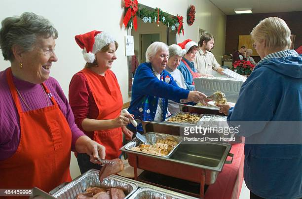 Tuesday December 25 2007 Volunteers serve a free buffetstyle Christmas dinner to anyone who came to the WestbrookWarren Congregational Church on Main...