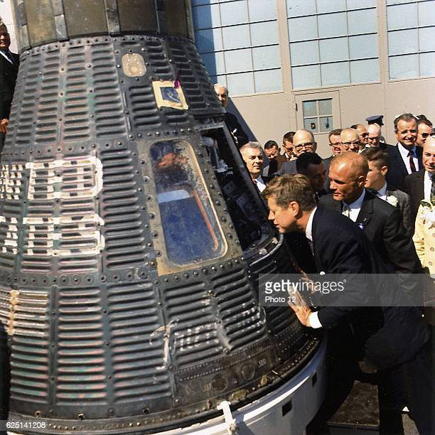 John F Kennedy 35th President of the United States of America inspecting 'Friendship 7' at Cape Canaveral 23 February 1962