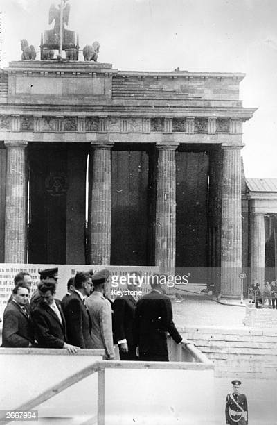 John F Kennedy 35th President of the United States of America with Willy Brandt the mayor of West Berlin at the Brandenburg Gate