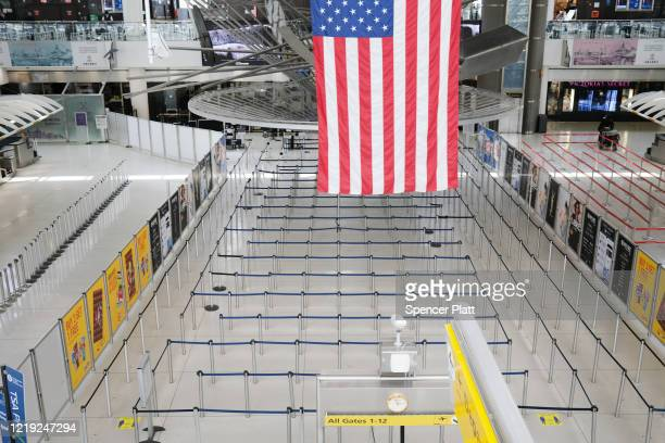 John F. Kennedy Airport stands mostly empty due to the ongoing cutbacks in travel because of the coronavirus on April 16, 2020 in New York City....