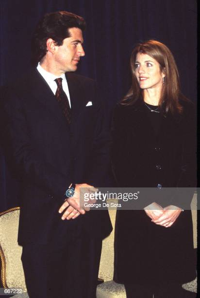 John F Kennedy Jr and Caroline Kennedy Schlossberg announce a scholarship to benefit The Jackie Robinson Foundation Scholarship Fund March 8 1999 at...